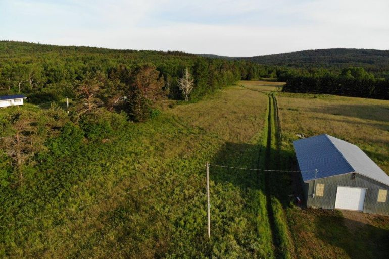 Aerial shot of the farm
